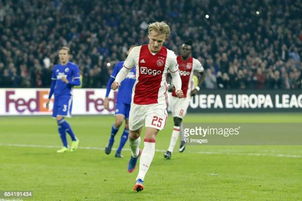 Ludwig Augustinsson of FC Copenhagen Uros Matic of FC Copenhagen Kasper Dolberg of Ajax Bertrand Traore of Ajaxduring the UEFA Europa League round of...