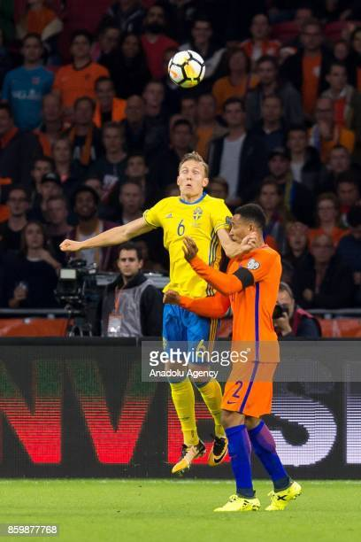 Ludwig Augustinsson of Sweden and Kenny Tete of Netherlands battle for the ball during the FIFA 2018 World Cup Qualifier soccer match between...