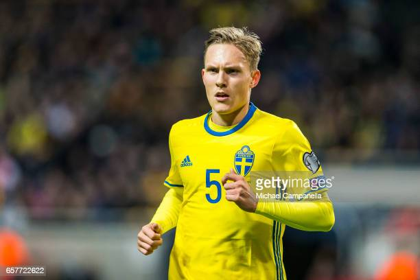 Ludwig Augustinsson of Sweden during the FIFA 2018 World Cup Qualifier between Sweden and Belarus at Friends arena on March 25 2017 in Solna Sweden