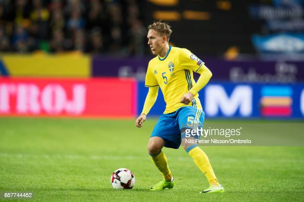 Ludwig Augustinsson of Sweden during the FIFA 2018 World Cup Qualifier between Sweden and Belarus at Friends arena on March 25 2017 in Solna
