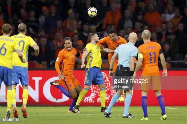 Ludwig Augustinsson of Sweden Ola Toivonen of Sweden Virgil van Dijk of Holland Marcus Berg of Sweden Kenny Tete of Holland referee Sergei Karasev...