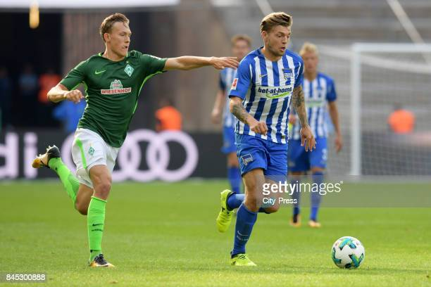 Ludwig Augustinsson of Werder Bremen and Alexander Esswein of Hertha BSC during the game between Hertha BSC and Werder Bremen on September 10 2017 in...