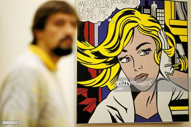 Ludwig Museum Köln Visitor beside a Roy Lichtenstein´s picture