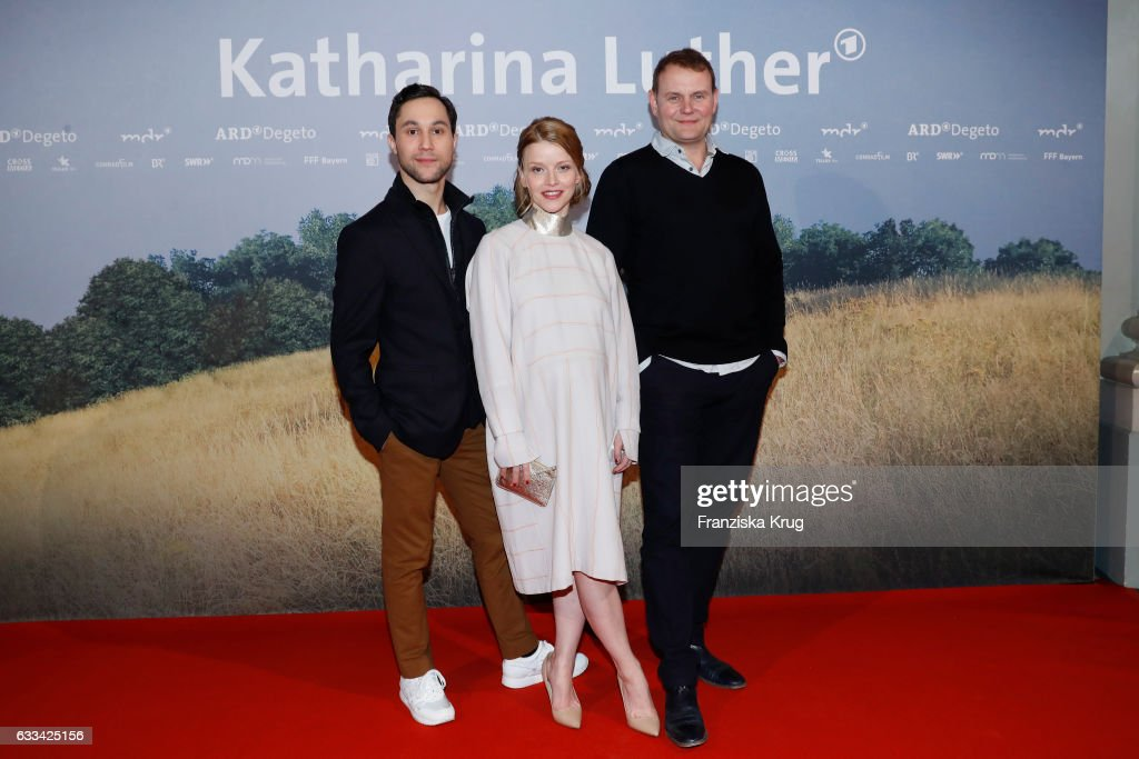 Ludwig Trepte, Karoline Schuch and Devid Striesow attend the 'Katharina Luther' Premiere at Franzoesische Friedrichstadtkirche in Berlin on February 1, 2017 in Berlin, Germany.