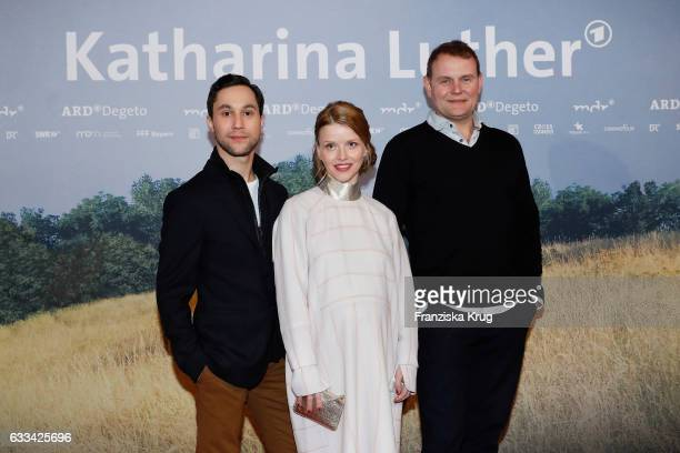 Ludwig Trepte Karoline Schuch and Devid Striesow attend the 'Katharina Luther' Premiere at Franzoesische Friedrichstadtkirche in Berlin on February 1...