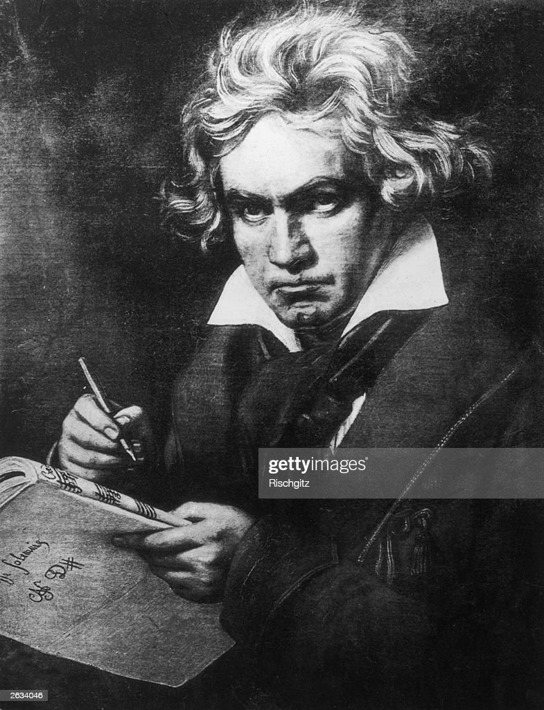 Ludwig Van Beethoven (1770 - 1827), German composer, regarded as on of the greatest Romantic composers. Original Artwork: Painting by Steiler.