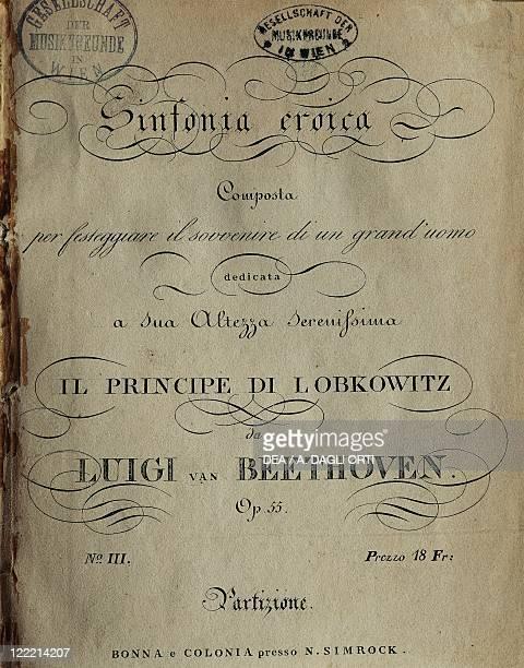 Ludwig van Beethoven Symphony No 3 in E flat major Op 55 'Eroica' Frontispiece