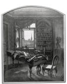 Ludwig van Beethoven's Study in the Schwarzspanier House in 1827 Beethoven's study with piano and view to the steeple of St Stephan's Cathedral...