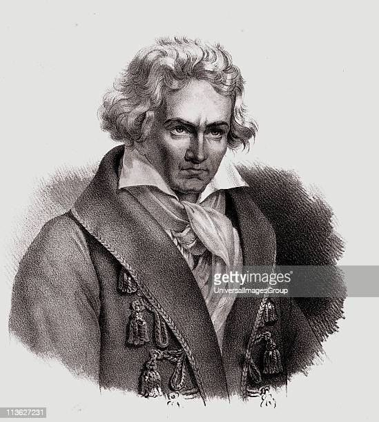 Ludwig Von Beethoven Baptized on December 17 1770 1827 German composerand pianist 19th century lithograph by Em Baerentzen CoFrom the book 'Figaro...