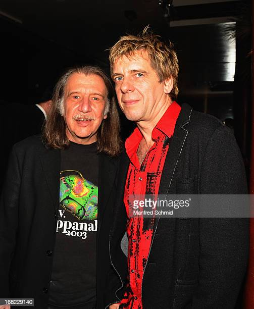 Ludwig Wickerl Adam of Hallucination Company and Andreas Meurer of Die Toten Hosen attend the after party of Amadeus Austrian Music Award at...