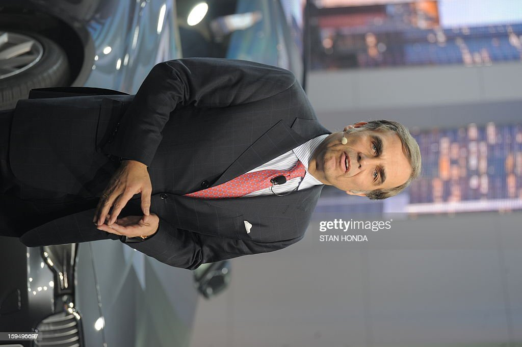 Ludwig Willisch, President and CEO of BMW North America, speaks at the 2013 North American International Auto Show in Detroit, Michigan, on January 14, 2013. AFP PHOTO/Stan HONDA