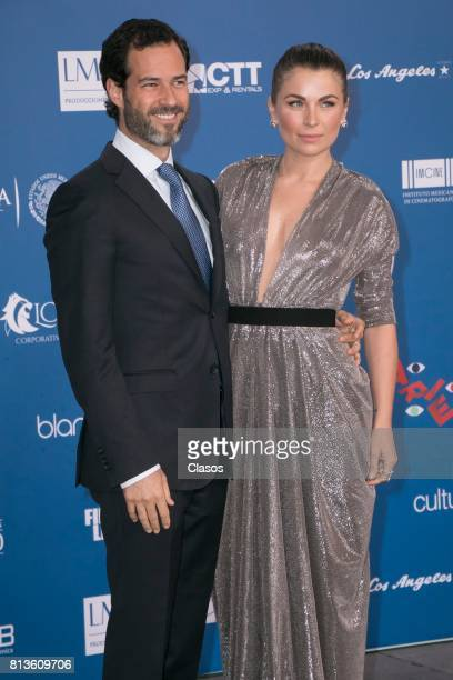 Ludwika Paleta and Emiliano Salinas pose during during the 59th Ariel Awards Red Carpet at Palacio de Bellas Artes on July 11 2017 in Mexico City...