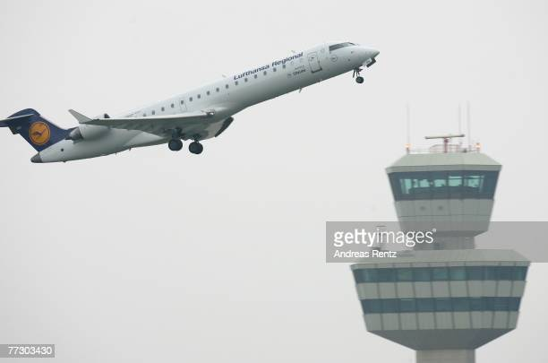 Lufthansa Airlines aircraft takes off from Tegel airport on October 12 2007 in Berlin Germany