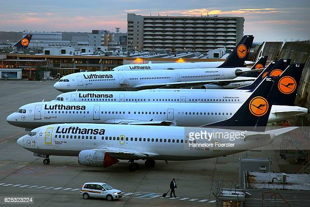 Lufthansa airplanes at waiting position on the first of a twoday strike at Frankfurt Airport on November 23 2016 in Frankfurt Germany Lufthansa...