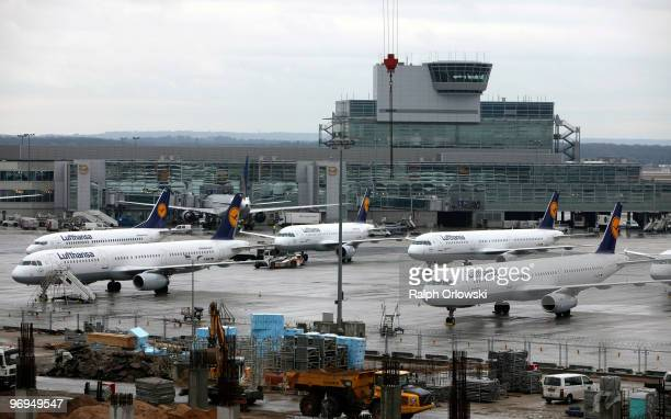 Lufthansa airplanes stand on the tarmac at Frankfurt International Airport on February 22 2010 in Frankfurt am Main Germany Lufthansa Lufthansa Cargo...