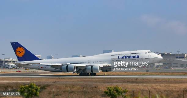 Lufthansa Boeing 747 takes off from Los Angeles international Airport on August 13 2017 in Los Angeles California