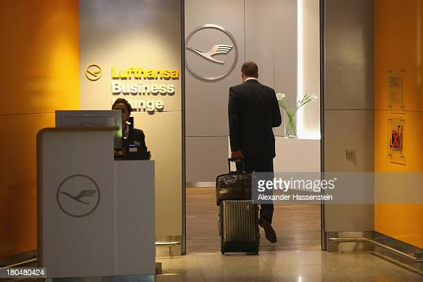 Lufthansa Business Class Lounge entrance in Terminal 1 at Frankfurt / Main International Airport on September 12 2013 in Frankfurt am Main Germany