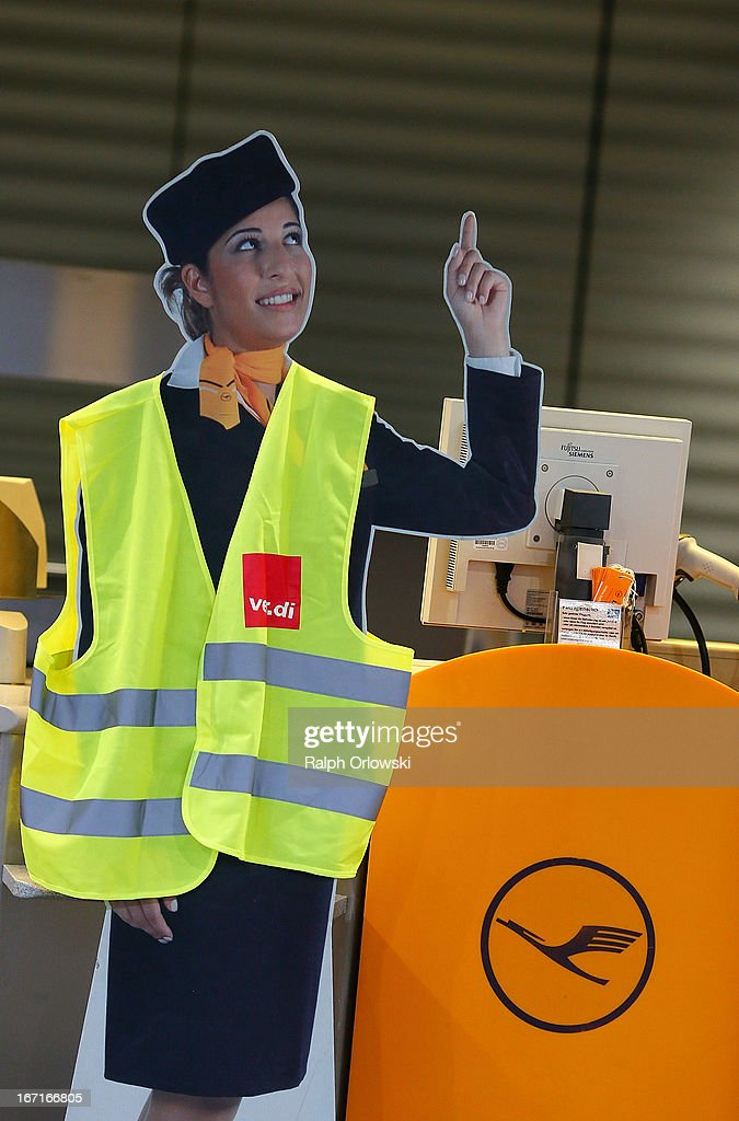 A Lufthansa cardboard standup wears a vest of German trade union ver.di during a nationwide strike by Lufthansa ground, service and maintenance personnel at Frankfurt Airport on April 22, 2013 in Frankfurt, Germany. Workers are demaning pay raises and job guarantees and today's strike has forced Lufthansa to cancel approximately 1700 flights.