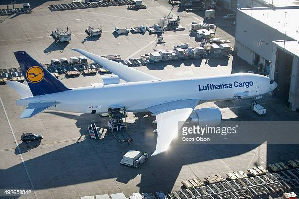 Lufthansa cargo jet sits on the tarmac below O'Hare's new Satellite South air traffic control tower on October 14 2015 in Chicago Illinois The...