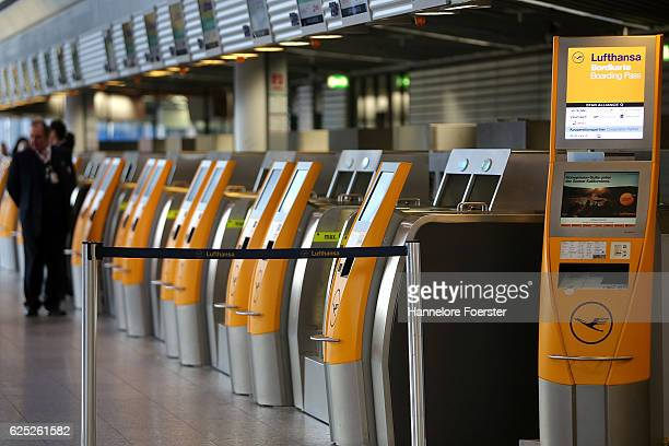 Lufthansa counter at terminal 1 on the first of a twoday strike at Frankfurt Airport on November 23 2016 in Frankfurt Germany Lufthansa pilots...