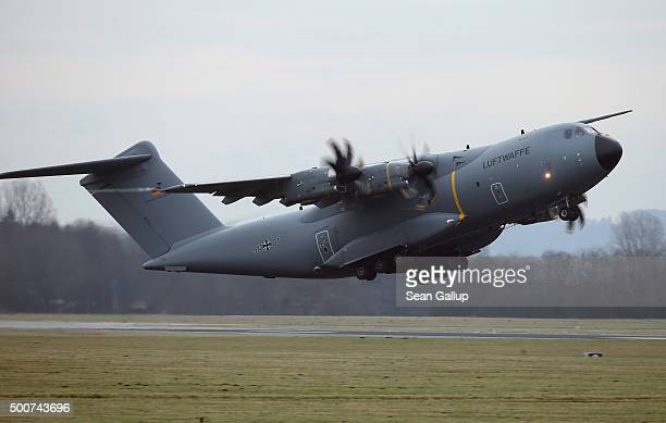 Luftwaffe A400M plane transporting 40 Bundeswehr members and their equipment departs for Incirlik airbase in Turkey as part of Germany's...