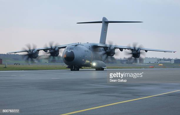 Luftwaffe A400M plane transporting 40 Bundeswehr members and their equipment taxis on the tarmac shortly before takeoff for Incirlik airbase in...