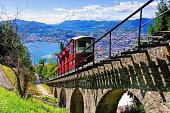 Lugano funicular to the Monte Bre and Lake Lugano, Switzerland