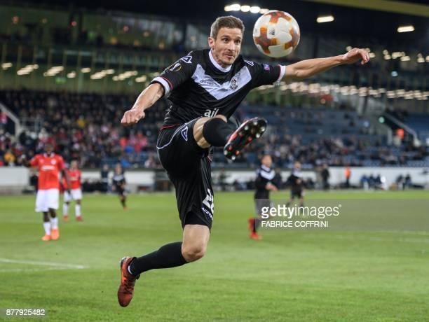 Lugano's Swiss defender Fulvio Sulmoni controls the ball during the UEFA Europa League Group G football match between FC Lugano and Hapoel Beer Sheva...