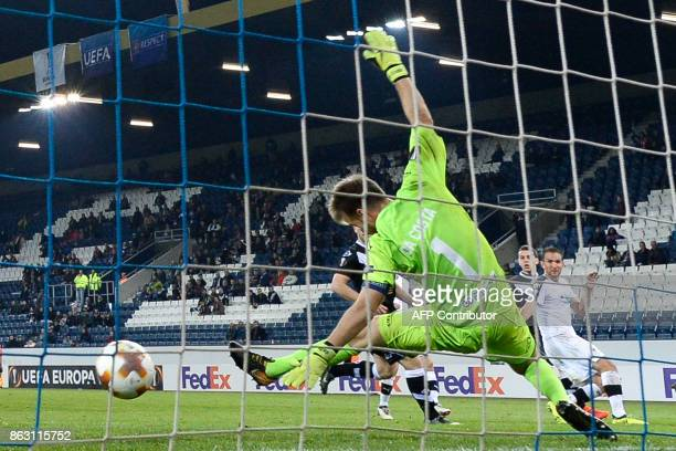 Lugano's Swiss goalkeeper David Da Costa concedes a goal during the UEFA Europa league Group G football match between FC Lugano and FC Viktoria Plzen...