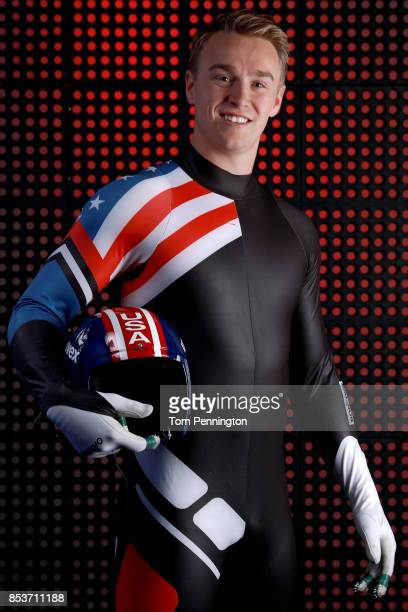 Luger Tucker West poses for a portrait during the Team USA Media Summit ahead of the PyeongChang 2018 Olympic Winter Games on September 25 2017 in...