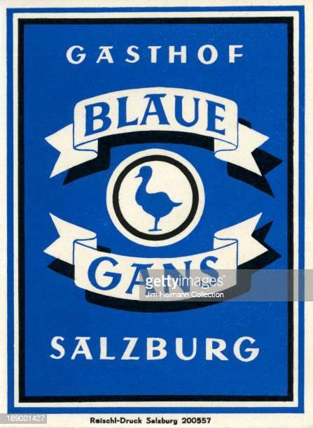 A luggage label for Blaue Gans by RelschlDruck from 1946 in Austria