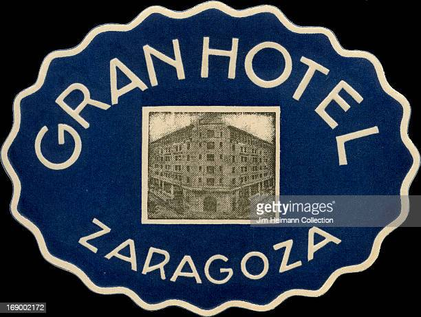 A luggage label for Gran Hotel Zaragoza from 1932 in Spain