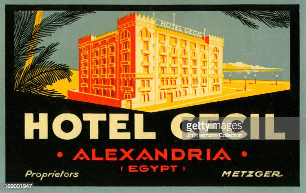 A luggage label for Hotel Cecil in Alexandria by Metzger from 1935 in Egypt