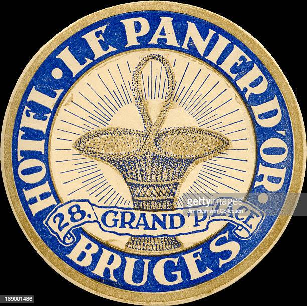 A luggage label for Hotel le Panier d'Or in Bruges from 1923 in Belgium