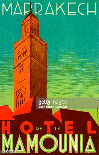 A luggage label for Hotel Mamounia from 1930 in Morocco