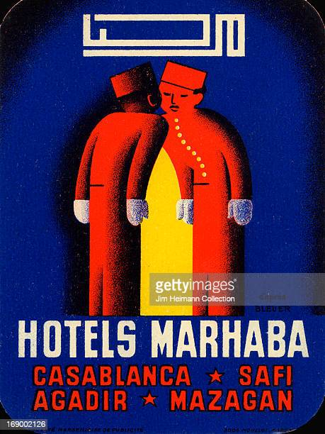 A luggage label for Hotels Marhaba in Casablanca from 1934 in Morocco