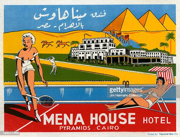 A luggage label for Mena House Hotel in Cairo by Velentzas Bros from 1954 in Egypt