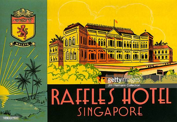 A luggage label for Raffles Hotel from 1936 in Singapore