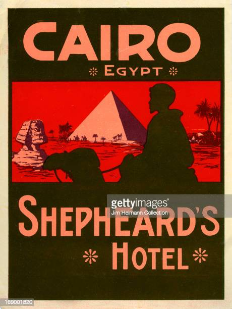 A luggage label for Shepheard's Hotel in Cairo from 1935 in Egypt