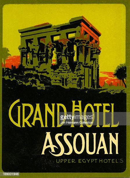 A luggage label for the Grand Hotel in Assouan by Upper Egypt Hotels from 1922 in Egypt