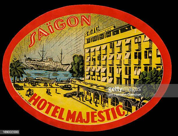 A luggage label for the Hotel Majestic in Saigon by Imprimerie Franvßaise d' OutreMer from 1950 in Vietnam