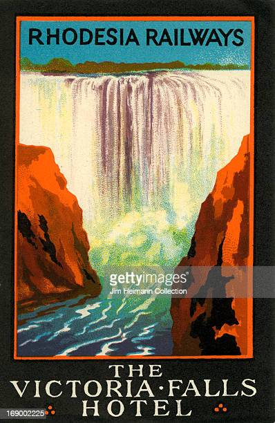 A luggage label for The Victoria Falls Hotel by Rhodesia Railways from 1930 in Rhodesia