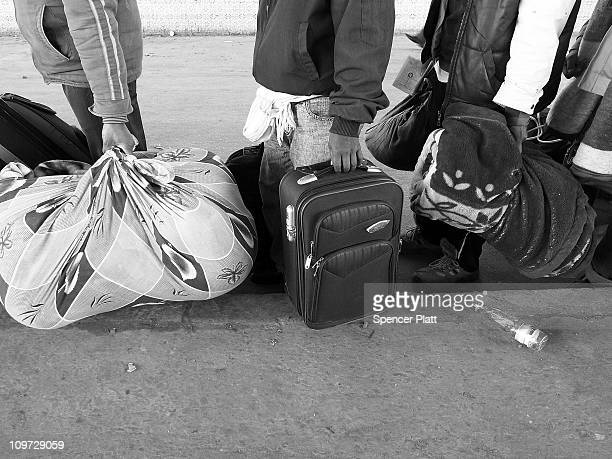 Luggage of men who recently fled Libya to enter the border of Tunisia is viewed at a customs check on March 02 2011 in Ras Jdir Tunisia Tens of...