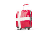 Luggage with flag of denmark. Suitcase isolated on white. 3D illustration