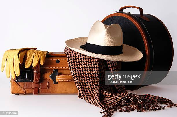 Luggage with hat box and panama hat