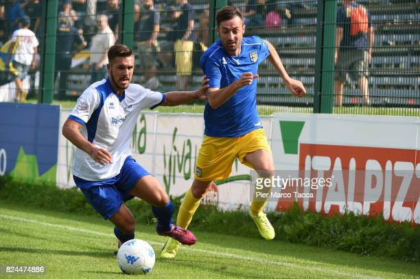 Luigi Alberto Scagliaof Parma Calcio competes for the ball during the preseason friendly match between Parma Calcio and Dro on July 30 2017 in...
