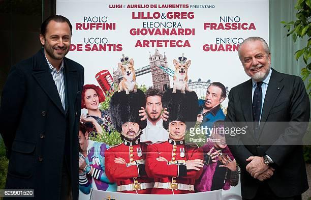 Luigi and Aurelio De Laurentiis attend Photocall of 'Natale a Londra Dio salvi la Regina' a film directed by Volfango De Biasi
