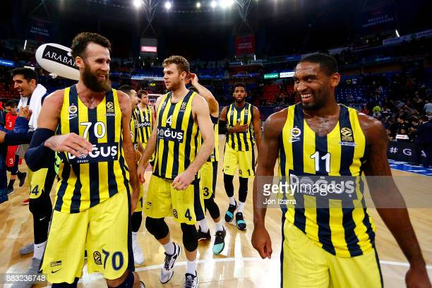 Luigi Datome #70 of Fenerbahce Dogus Istanbul celebrates with Brad Wanamaker #11 of Fenerbahce Dogus Istanbul during the 2017/2018 Turkish Airlines...