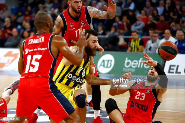 Luigi Datome #70 of Fenerbahce Dogus Istanbul competes with Tornike Shengelia #23 of Baskonia Vitoria Gasteiz during the 2017/2018 Turkish Airlines...