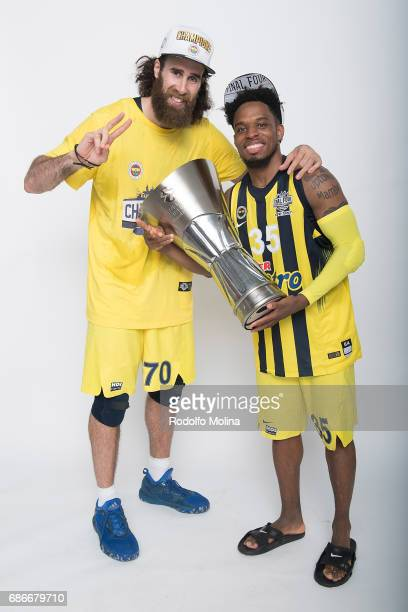Luigi Datome #70 of Fenerbahce Istanbul and Bobby Dixon #35 pose with Trophy duringTurkish Airlines EuroLeague Basketball Final Four istanbul 2017...